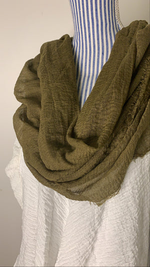 Olive moss - Crinkle Organic Cotton Scarf - Online Shopping - The Untitled Project