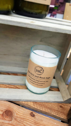 Sea Salt and Wood Sage - Soy Wine Bottle Candle
