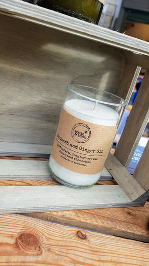 Rhubarb and Ginger Gin - Soy Wine Bottle Candle
