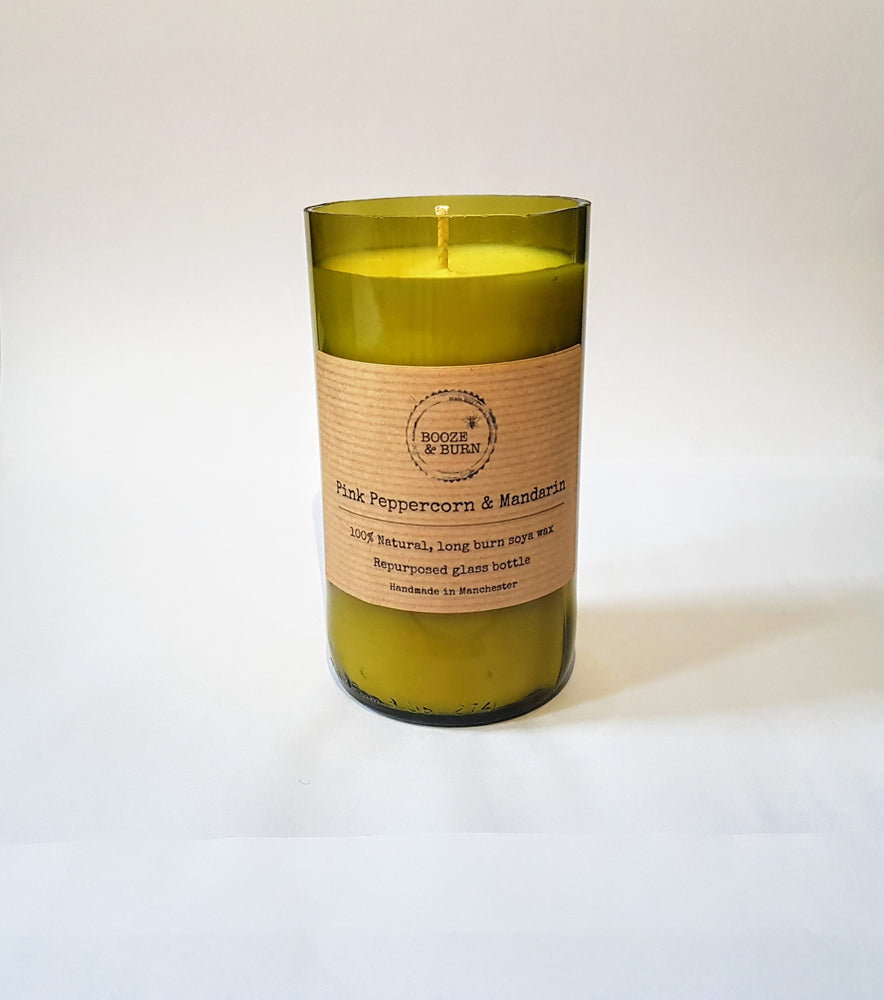 Pink Peppercorn and Mandarin - Soy Wine Bottle Candle