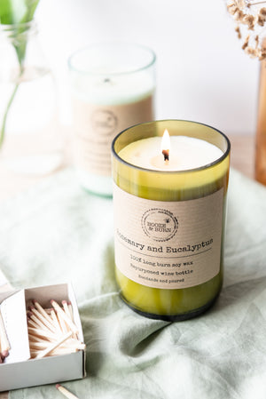 Load image into Gallery viewer, Rosemary and Eucalyptus - Soy Wine Bottle Candle