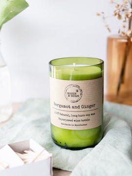 Bergamot and Ginger Wine Bottle Candle