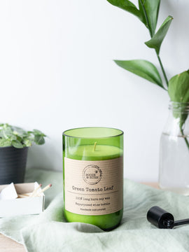 Green Tomato Leaf - Soy Wine Bottle Candle