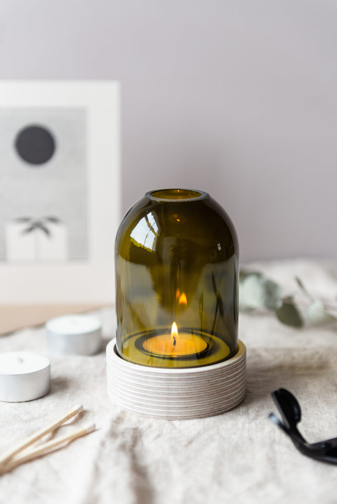 Wine Bottle Tealight Lantern - Olive