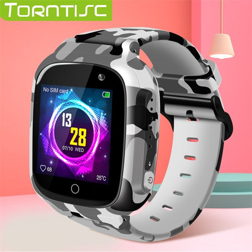 Torntisc 2019 Kids GPS Smart Watch WIFI SOS Sim Card Video Chiamata vocale Fotocamera anti-smarrimento 0.3 MP Smartwatch per bambini / Elettronica