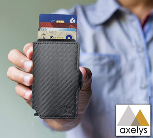 AXELYS Porta Carta di Credito RFID. Porta Banconote. Pulsante Pop-up. Slim Magic Wallet, Nero Carbon