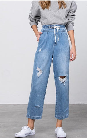 Banded Waist Slouch Jeans
