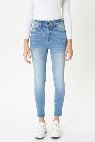 High Rise Ankle Skinny Jean with Frayed Waistband