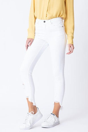 White Distressed Ankle Jean