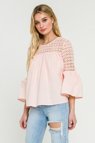 Lace With Poplin Bell Sleeve Blouse