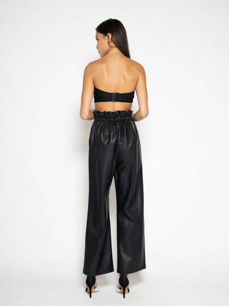 Paper Bag Faux Leather Pants