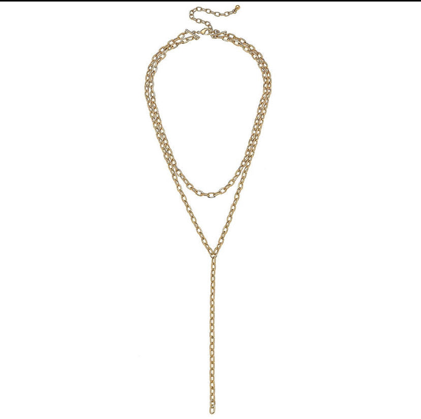 Layered Chain Y Necklace in Worn Gold