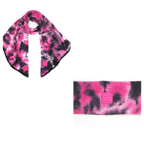 Pink Tie Dye Wrap and Scarf Set