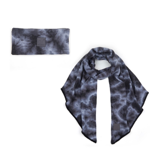 Grey Tie Dye Wrap and Scarf Set