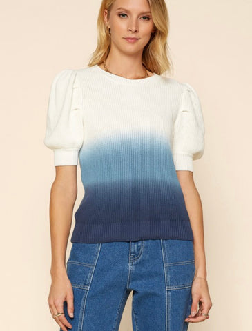 Dip Dye Puff Sleeve Sweater