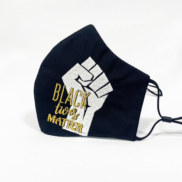 BLM embroidery Fist Face Mask - Binta Sagale Shop