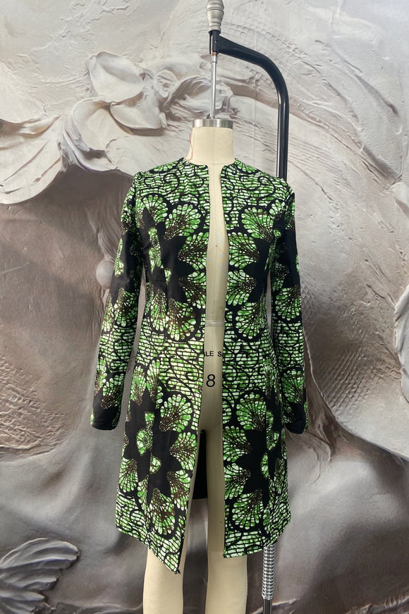 Green Floral Patterned Jacket - Binta Sagale Shop