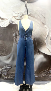 Mid Wash Halter Neck Denim jumpsuit - Binta Sagale Shop