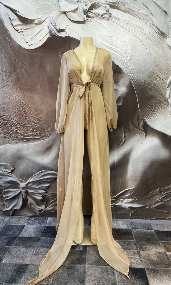 Nude Cover-up Tunic Chiffon - Binta Sagale Shop