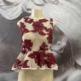 RED AND CREAM FLORAL MESH TOP - Binta Sagale Shop
