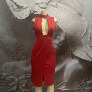 SLEEVELESS RED PLUNGING DEEP V NECK CROSS BACK BODY CON BANDAGE FITTED MINI DRESS - Binta Sagale Shop