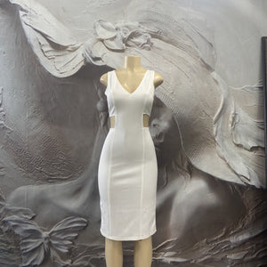 WHITE V-NECK/BACK DRESS - Binta Sagale Shop
