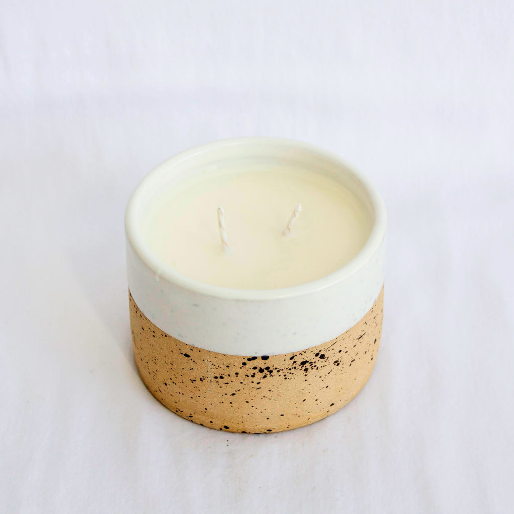 Trim Pottery Speckled Ceramic Candle