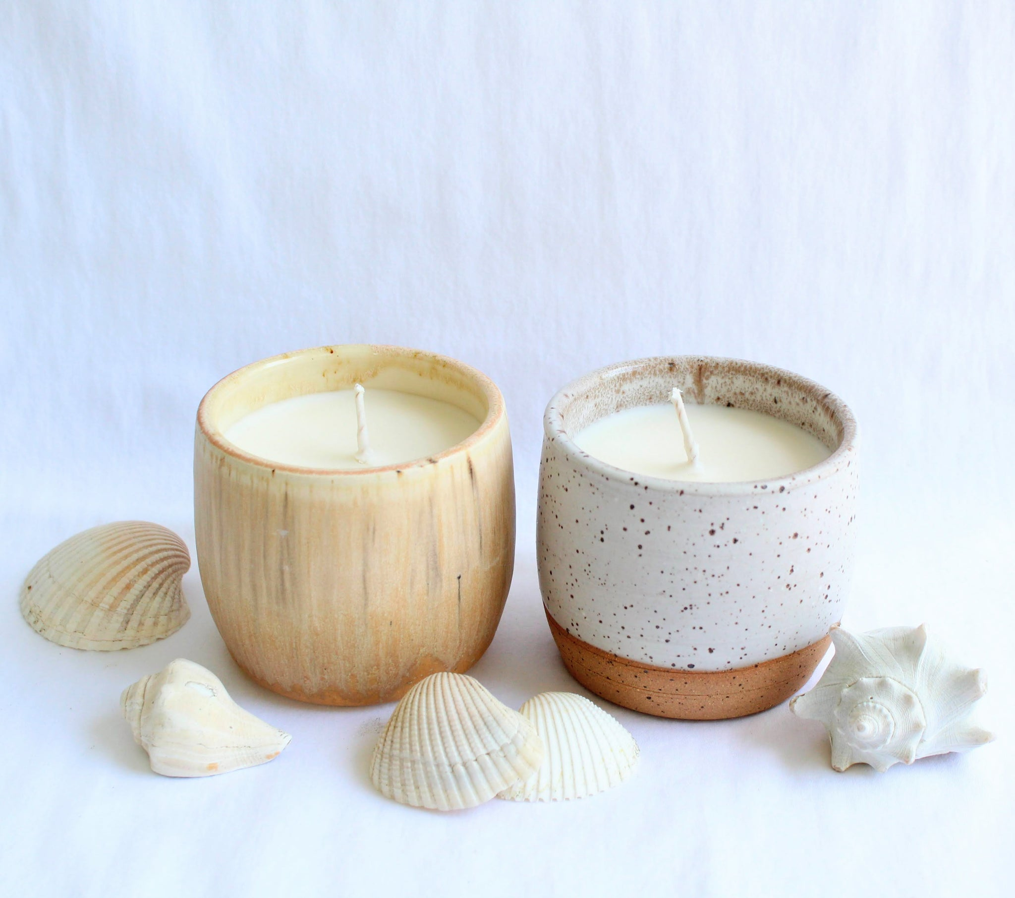 Ashen Ceramics White Speckled Candle