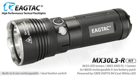 Eagletac MX30L3-R Kit w/3500mah battery XHP70 3,893 Lumens Rechargeable Searchlight (CW/NW)