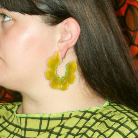 Rainbow Wave Hoop Earrings