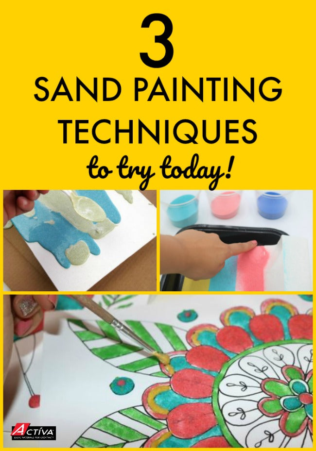 Sand painting is a fun craft for any age artist! This post shows you three different ways to paint with sand.  Check it out!