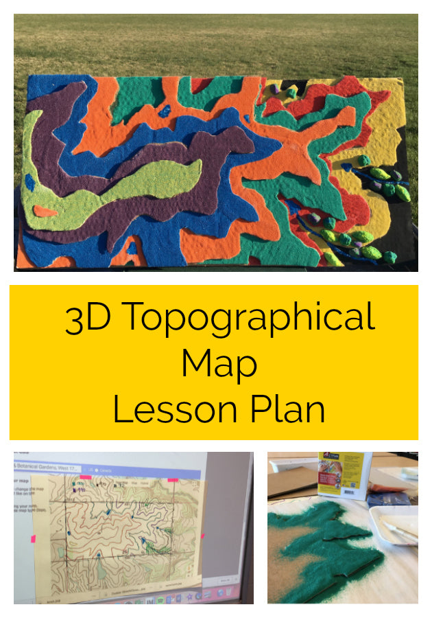 Click here to get this fantastic 3D topographical map free lesson plan!  Use actual topographical maps to create a beautiful 3D sculpture with sand and more!  #lessonplan #artteacher #artlessonplan