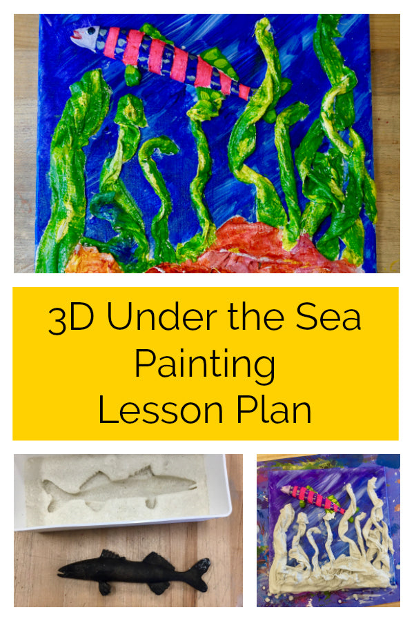 Click here to get this free 3D Under the Sea Painting lesson plan!  Students will be introduced to casting and color theory in this great lesson plan!  It's a great art project for older elementary students and middle school students.  #lessonplan #artteacher #artproject