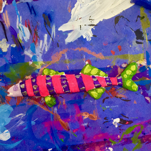 Painted fish cast with PermaStone make a fun addition to 3D Under the Sea art.