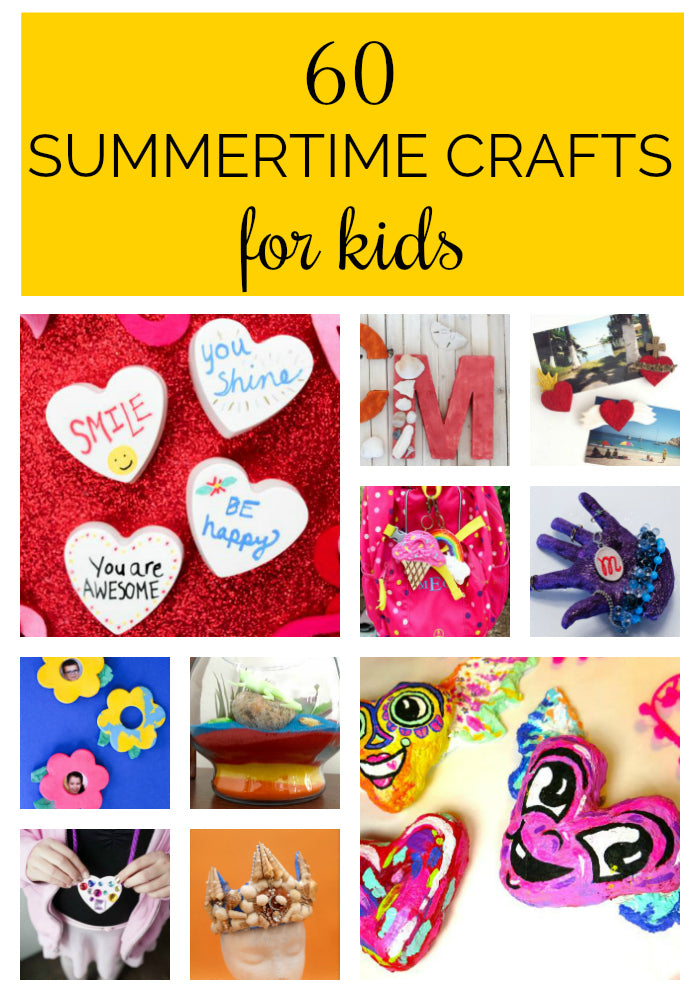 GREAT ideas!  This post has 60 summertime crafts for kids that will help you keep your kids entertained and screen-free this summer!  These craft project ideas for kids span all ages and use simple, non-toxic materials.  #kidscrafts #summercrafts #craftprojects #kidscraftideas