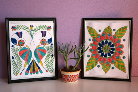 Transform adult coloring book pages with colored sand paint!