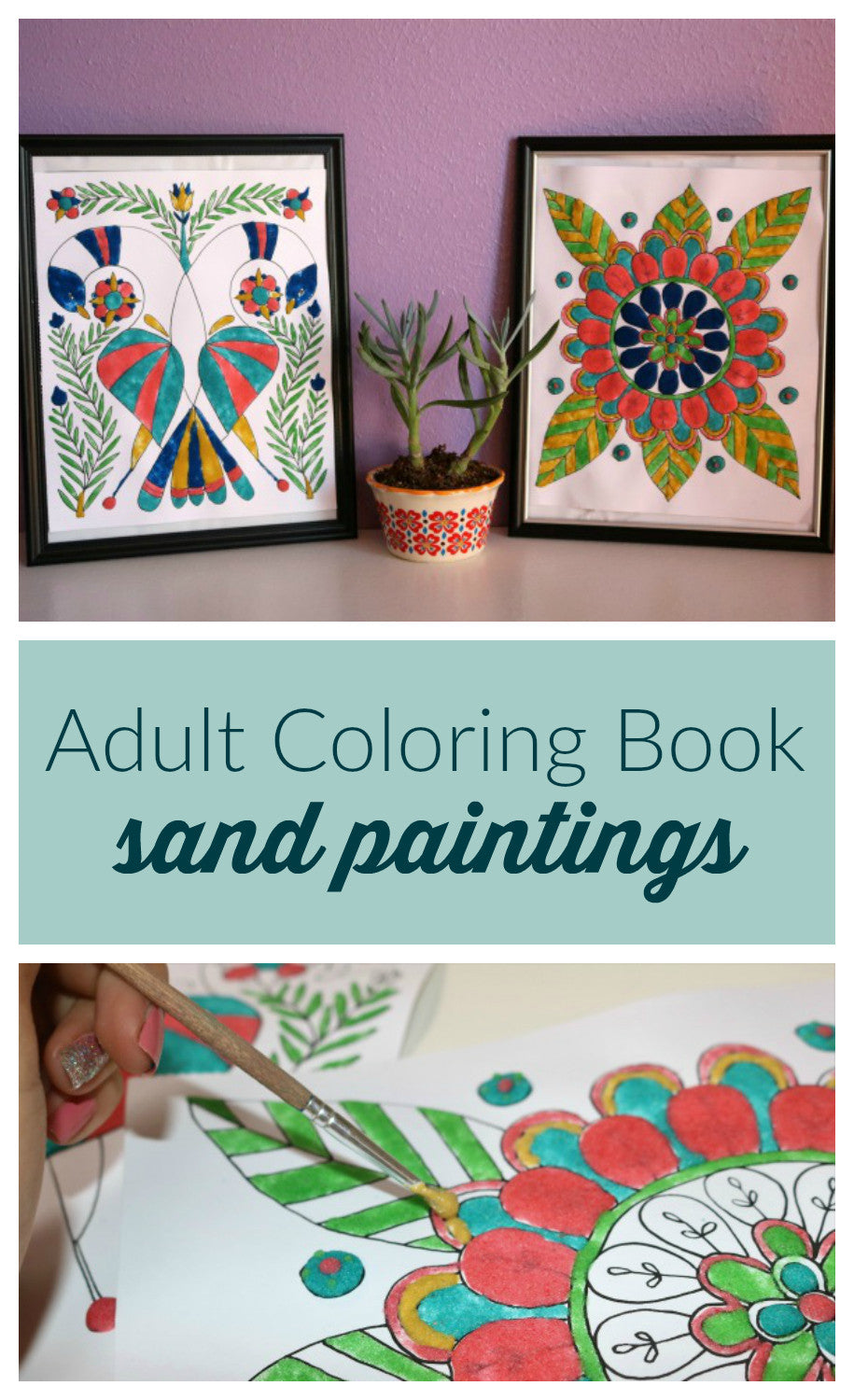 Forget JUST coloring your adult coloring book pages!  Give them texture and dimension with colored sand paint!  Click through to learn how to make your own colored sand paint and how to make this unique adult coloring book craft project!