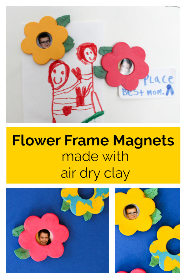 Click here for a tutorial on how to make air dry clay flower frame magnets!  They are a cute DIY gift idea for Mother's Day or a birthday!  Kids of all ages will have fun making these air dry clay magnets.  #airdryclay #mothersday #mothersdaygift