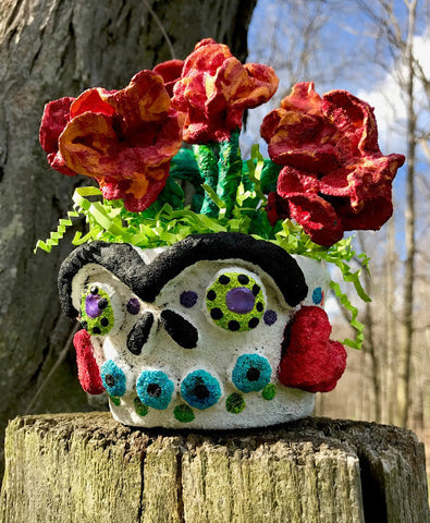 Art teacher Ashley McKee submitted this Floral Frida Sugar Skull Planter as her submission for the <em>ACTÍVA</em> Products Art Teacher Mystery Box Contest.  Click through for her full lesson plan.