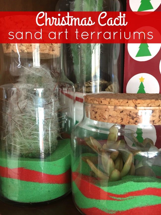 Add a whimsical twist to your traditional holiday decor with these fun DIY Christmas Cacti Sand Art Terrariums!  They're easy to make and a great project for all ages!