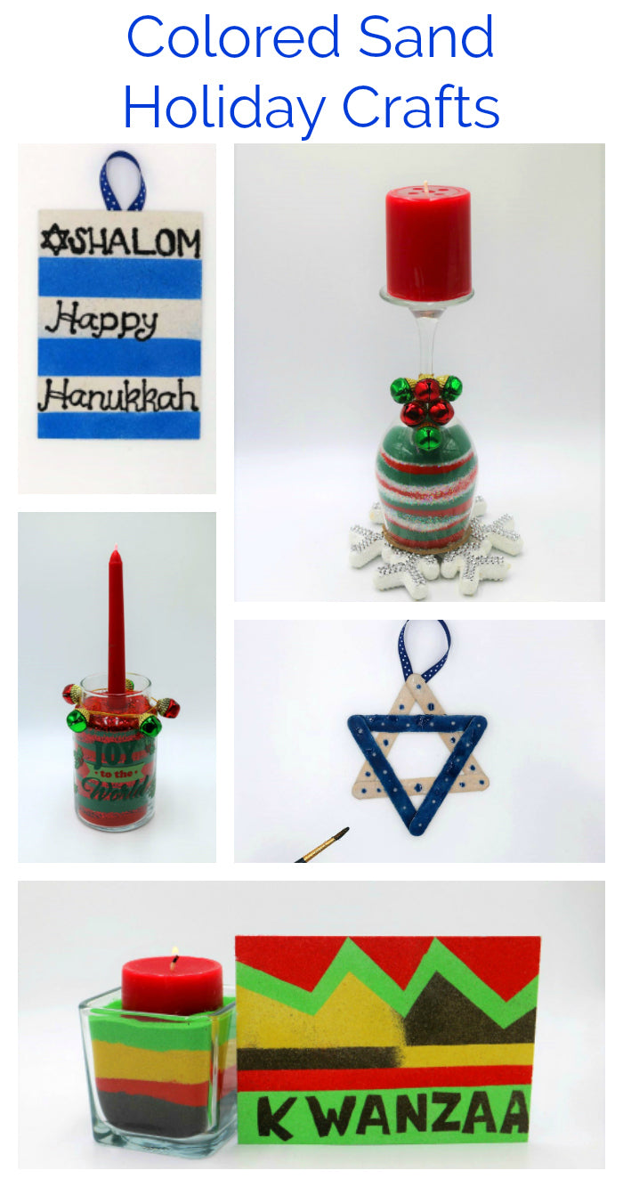 Create handmade memories this holiday season with fun colored sand craft projects that are wonderful for all ages!  #holidaycrafts #kwanzaa #hanukkah #christmascrafts