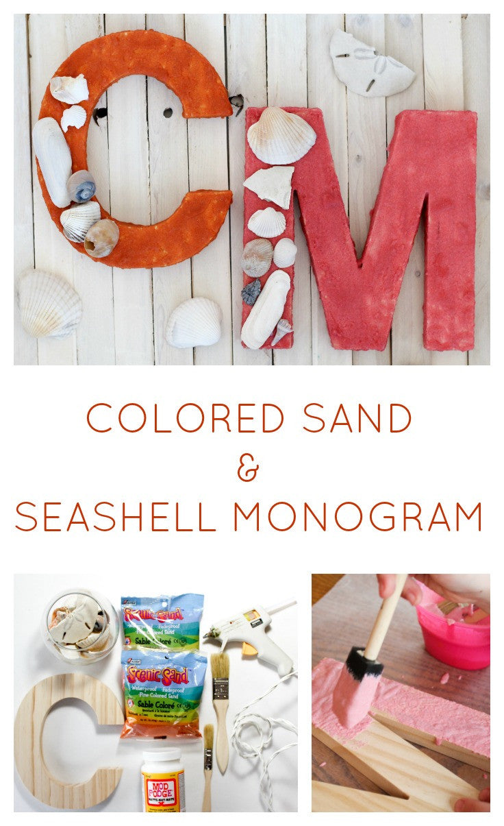 Turn your seashells into a piece of costal decor with this unique Colored Sand and Seashell Monogram project!  This is a great project for a beach wedding, a beach house, or for anyone looking to display their beach vacation memories.  Kids also have fun with this seashell project!