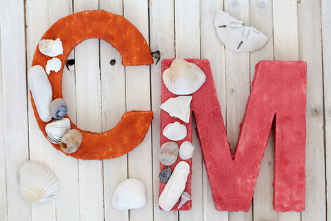 Display your seashell collection with a unique colored sand and shell monogram!  The perfect way to use up seashells!
