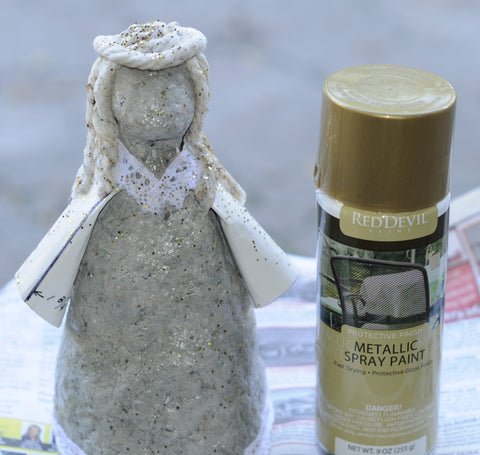 spray celluclay angel with gold paint