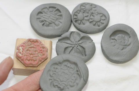 stamp the low fire clay for texture