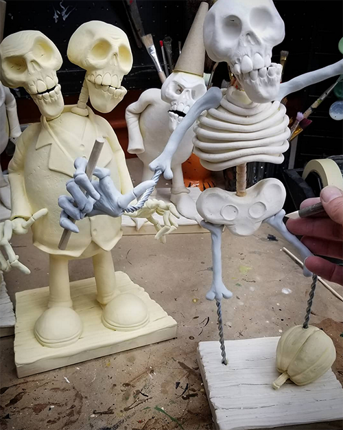 David Everett uses La Doll air dry clay to sculpt his skeletons.