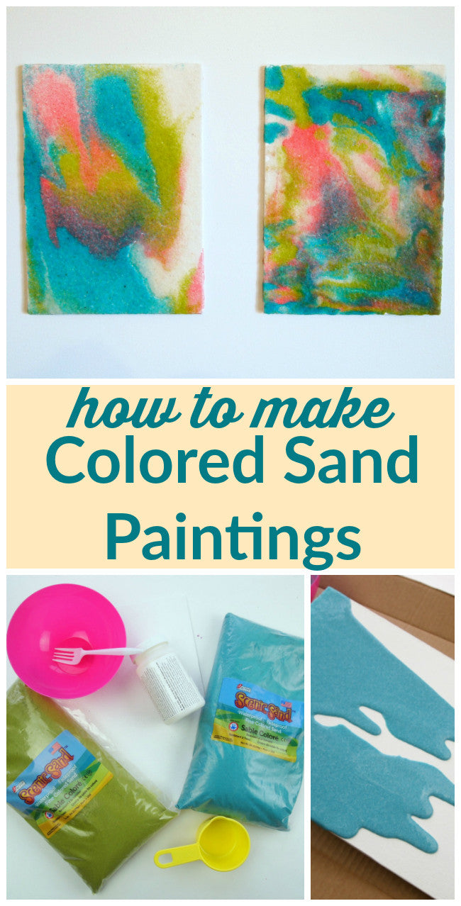 Use colored sand to make gorgeous colored sand paintings!  This is a great kids craft, too!  Get the full project and supply list in this post.