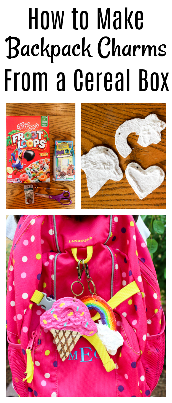 Learn how to make backpack charms from an empty cereal box!  This project can be customized in any shape or color.  What a great back to school project idea!