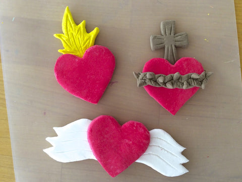 Making Sacred Heart magnets with air dry clay is fun!