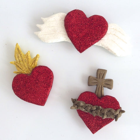Air Dry Clay Sacred Heart Magnets Set - make these sacred heart magnets with air dry clay.  Such a fun project!